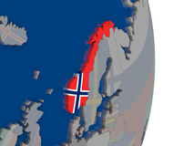Norway with its flag Stock Photo