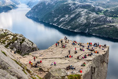 NORWAY - JUNE 2, 2012: unidentified group of tourists enjoy brea Royalty Free Stock Photo