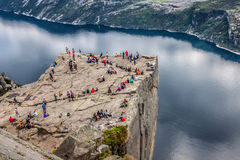 NORWAY - JUNE 2, 2012: unidentified group of tourists enjoy brea Stock Photography