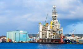 norway La plateforme pétrolière est en construction image stock