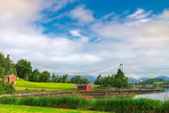 Norway landscape with the bridge over the ocean Royalty Free Stock Photo