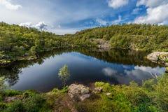 Norway Landscape. Close To Preikestolen Sightseeing Place. Mountain, Blue Sky. Reflection on Mountain Lake. Royalty Free Stock Photo