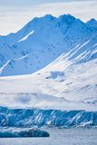 Landscape ice nature of the glacier mountains of Spitsbergen Longyearbyen Svalbard arctic ocean winter polar day sunset sky. Norway landscape ice nature of the royalty free stock photos