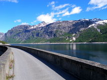 Norway landscape. Image of a bikeway traveling across the beautiful Norway landscape Royalty Free Stock Image