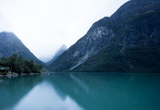 Norway landscape with lake and mountains Royalty Free Stock Photos
