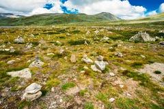 Norway Landscape, Mountain Under Sunny Blue Sky. Norway Nature Landscapes, Mountain Under Sunny Blue Sky Royalty Free Stock Photos