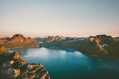 Norway landscape mountains over fjord sunset landscape aerial view stock photo