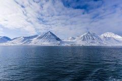Landscape nature of the mountains of Spitsbergen Longyearbyen  Svalbard   arctic ocean winter  polar day sunset Royalty Free Stock Photo
