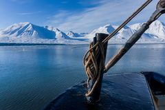 Landscape nature of the mountains of Spitsbergen Longyearbyen  Svalbard   arctic ocean winter  polar day sunset Royalty Free Stock Photos
