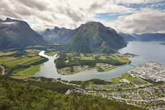 Norway landscape. Romsdal fjord, Rauma river and Romsdal mountai Royalty Free Stock Image