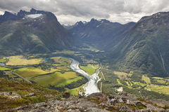 Norway landscape. Romsdal fjord, Rauma river and Romsdal mountai Royalty Free Stock Photos