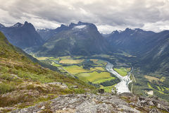 Norway landscape. Romsdal fjord, Rauma river and Romsdal mountai Stock Images