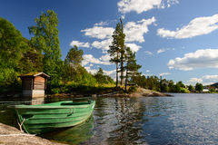 Norway landscape with water and boat Royalty Free Stock Photos