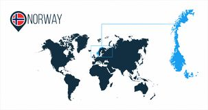 Norway location on the world map for infographics. All world countries without names. Norway round flag in the map pin or marker. Vector illustration on vector illustration