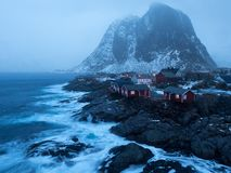 Norway, Lofoten Hamnøya. Norway, Lofoten atmospheric shot of stormy Hamnøya royalty free stock image