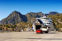 Norway Lofoten Ferry Fjord, Mountains Landscape Royalty Free Stock Photo