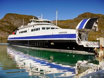 Norway Lofoten Ferry Fjord, Mountains Landscape Royalty Free Stock Images