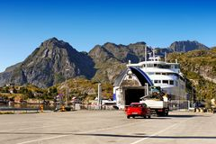 Norway Lofoten Ferry Fjord, Mountains Landscape Royalty Free Stock Photo