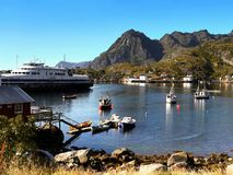 Norway Lofoten Fjord, Arctic Mountains Landscape Royalty Free Stock Photo