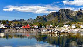 Norway Lofoten Fjord, Arctic Mountains Landscape Stock Photo