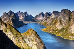 Norway, Lofoten Islands, Coast Landscape Mountains Fjords. Lofoten Islands - Beautiful fjord, coast nature and mountain landscape. Norwegian mountains. Norway royalty free stock images