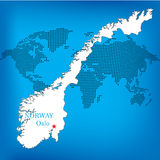 Norway map. With world map in background vector illustration