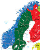 Norway map. Highly detailed vector map of Norway with administrative regions,main cities and roads Stock Photos