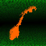 Norway map on binary code Stock Photography