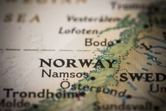 Norway on map. Closeup of the text `Norway` on a world map Royalty Free Stock Images