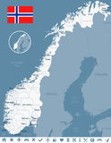 Norway - map and flag - illustration Stock Photos