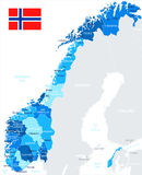 Norway - map and flag - illustration Royalty Free Stock Photos