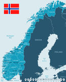 Norway - map and flag - illustration Royalty Free Stock Photo