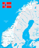 Norway - map and flag - illustration Stock Photography