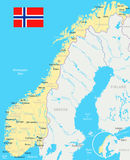 Norway - map and flag - illustration Royalty Free Stock Images