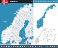 Norway - map and flag - infographic illustration Royalty Free Stock Images