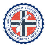 Norway map and flag in vintage rubber stamp of. Norway map and flag in vintage rubber stamp of state colours. Grungy travel stamp with map and flag of Norway Stock Image