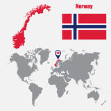 Norway map on a world map with flag and map pointer. Vector illustration Stock Photo
