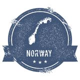 Norway mark. Travel rubber stamp with the name and map of Norway, vector illustration. Can be used as insignia, logotype, label, sticker or badge of the stock illustration