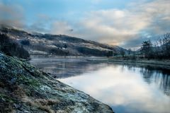 Norway, misty river stock photo