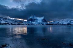 Norway, mountain and dramatic sky royalty free stock photography