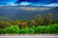 Norway mountain transportion road with bokeh background Stock Photos