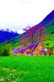 Norway Mountain Valley and Beautiful Yellow Cottage, Country House stock images