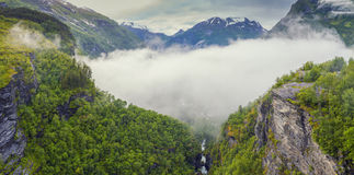 Norway Mountains And Fjord View - Clouds Over Geirangerfjord, St Royalty Free Stock Photos