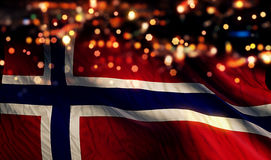 Norway National Flag Light Night Bokeh Abstract Background. Art royalty free stock photography