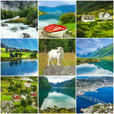 Norway, natural landscapes Scandinavian collage Royalty Free Stock Photography