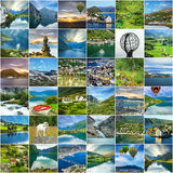 Norway natural landscapes travel collage Stock Image