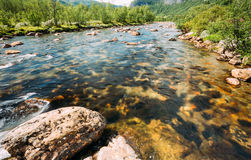 Norway Nature Cold Water Mountain River Royalty Free Stock Photos