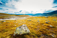Norway Nature Landscapes, Mountain Under Sunny Blue Sky Royalty Free Stock Photos
