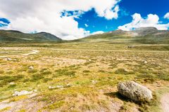 Norway Nature Landscapes, Mountain Under Sunny Sky stock photo