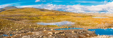 Norway Nature Mountain Landscape. Panoramic View Stock Photo